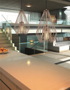 Pendant Lighting Transitional Modern QUINTUS Z-Lite 442MP12-CR over the kitchen white counter